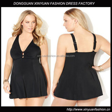 Custom Plus Size Clothing Women Short Frock Dresses, High Quality Plus Size Sleeveless V-Neck Swim Dress for Fat Women