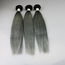 Wholesale cheap Grey Ombre Human Hair Extensions 3 Pcs 1B Grey Straight Hair Two Tone Peruvian Virgin Hair Grey Weave