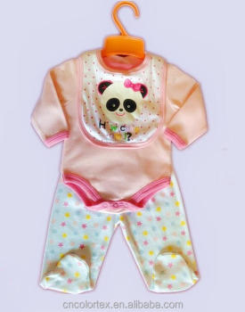 Baby Clothing Set 3PCS Set Rompers Pants Bibs