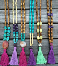 Turquoise Stone With Wooden Beads Tassel Necklace