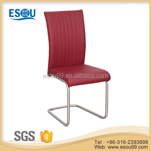 Colorful Leather PU Brushed Stainless Steel Dining Chair