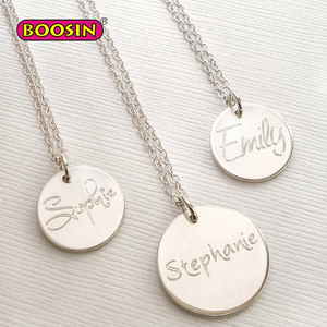 Custom Name Round Tag Pendant Necklace Simple Type Jewelry