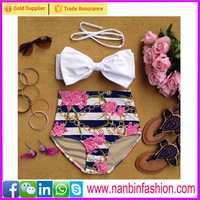 White and black red flower high waist bikini kids swimwear