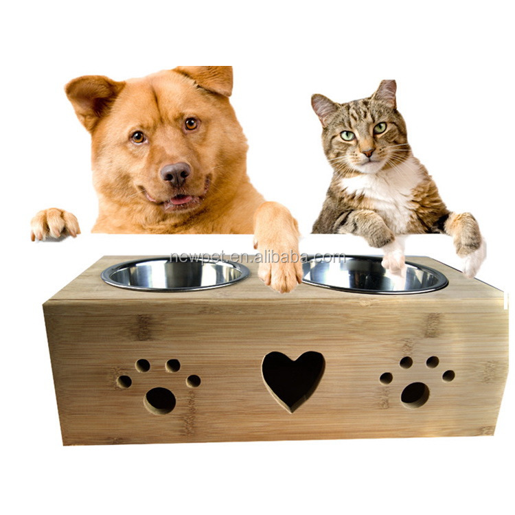 Top quality latest design bamboo,stainless steel pet feeder dog slow eat bowl