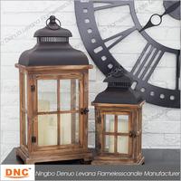 Cheap natural color wooden led tea light candle lantern