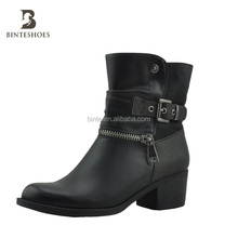2014 New style fashionable women pu leather shoe rubber snow boot with Sexy zipper