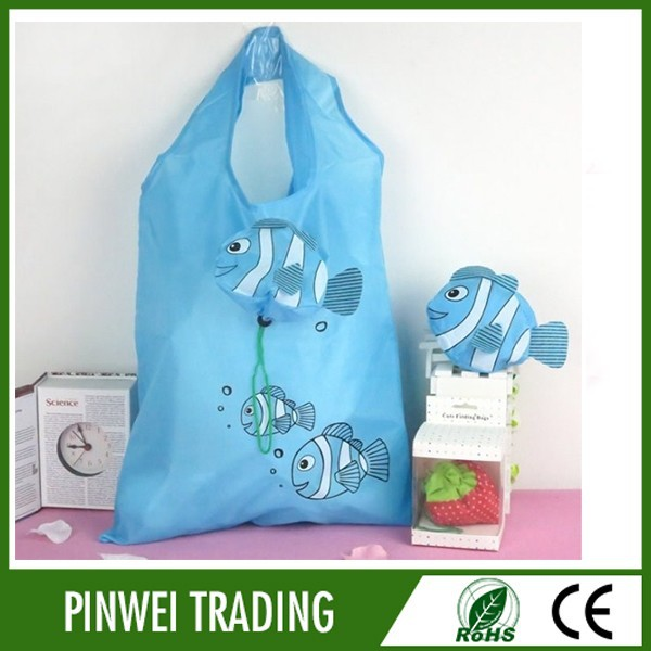cute cartoon fish ployester foldable shopping bag