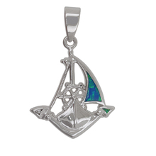 wholesale suppliers imitation jewelry boat charm sterling silver opal handmade pendant