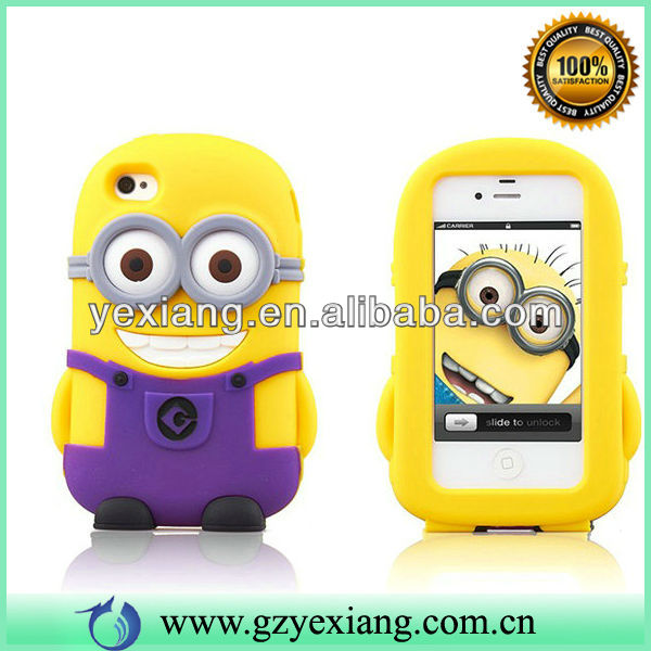Hot Selling Despicable Me 2 Minions 3D Silicone Soft Case For Iphone 5