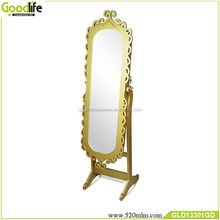 Luxury gold color oval mirror jewelry cabinet