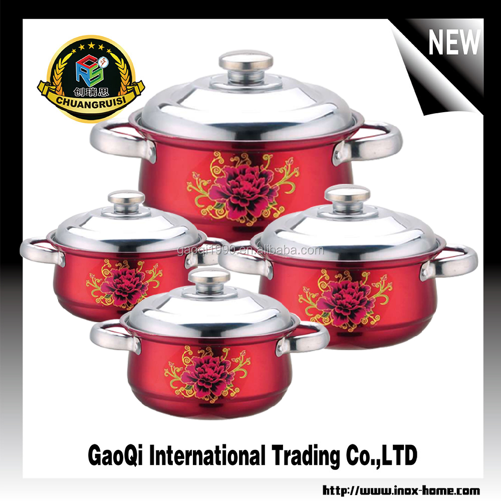 stainless steel pot 8pcs superior quality cookware set with decorative flower