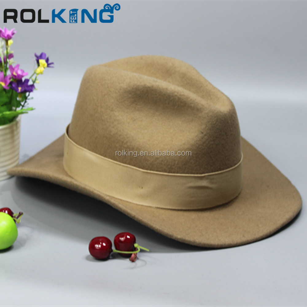 Camel elegant felt cowboy hat fashion accessories factories