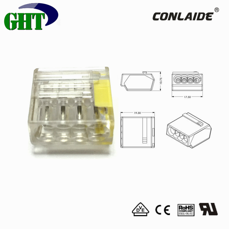 Easy Connecting and Release 4 Pin Quick Connector With 20A 300V For LED Lighting