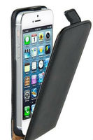 NEW ULTRA SLIM LUXURY SATIN FINISH LEATHER FLIP CASE COVER FOR APPLE IPHONE 5 5S