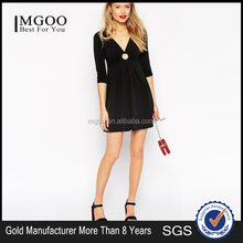 MGOO custom made sexy black dress 2015 latest design adult lady girls party dress deep v-neck fashion dress