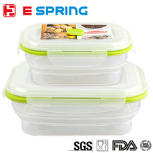 transparent different square round rectangle shaped Collapsible Food Storage Container Freezer, Microwave & Oven Safe