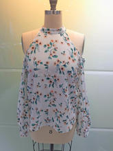 New fashion female unique design chiffon printed floral tops