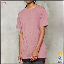 Men's clothing blank distressed t shirts custom longline t shirt wholesale china