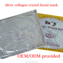 OEM Sliver diamond anti-wrinkle deep hydrating collagen crystal facial mask Private lable