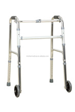 aluminum walking frame with 2 wheels and plastic hand for grab