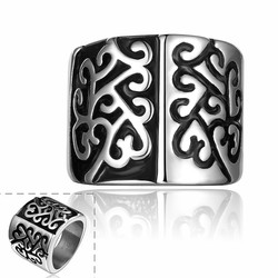 SJ Promotion Gothic Pattern Filigree Pattern Stainless Steel Wide Black Men Band Ring