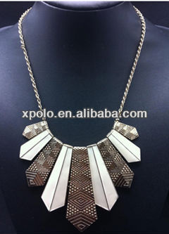 2014 new arrival fashional art deco inspired necklace/white stick charm necklace/gold plated stick neckalce