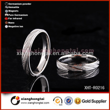 Hot sale Sandblasted Titanium stainless steel Ring with Pinstripes