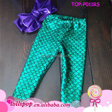 wholesale boutique baby clothing Baby green shiny Pants Newborn Mermaid legging