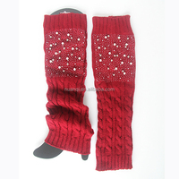 girl winter knitted leg warmers sex leg wear with pearl beads