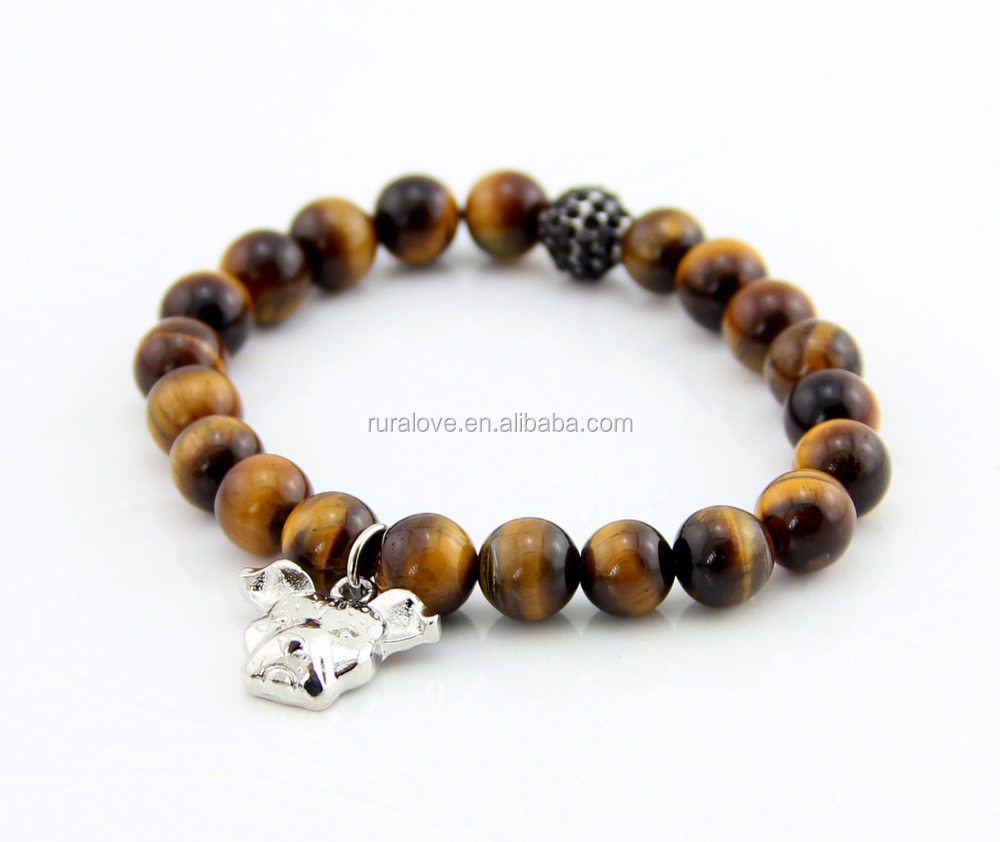 New arrived yellow tiger eye beads bracelet with dog charm