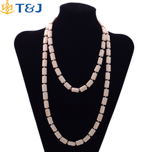 High quality boho bling girl white turquoise multilayer necklace women long geometric shaped necklace