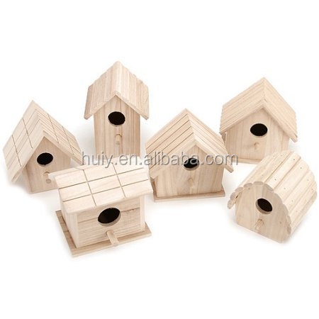 wholesale unpainted wood birdhouse assortment wooden bird cage