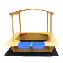 Covered sandbox for children with adjustable height canopy