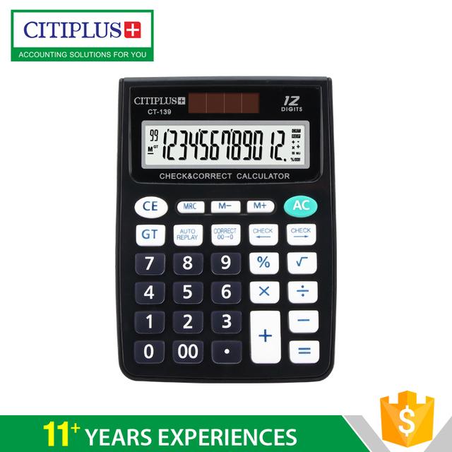 CT-139 12-digits dual power desktop calculator with lcd screen