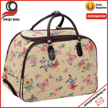 new style floral pattern waterproof oilcloth+pu flexible travel bag deffel bag trolley case with a long bar