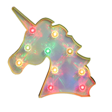 Automatic Color Chang Unicorn Head Led Night Light With Diamond Animal Marquee Decorative Night light Table Lamps For Kids Gifts
