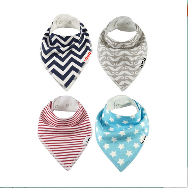high quality cute 100% organic cotton bandana baby bib and easy to clean