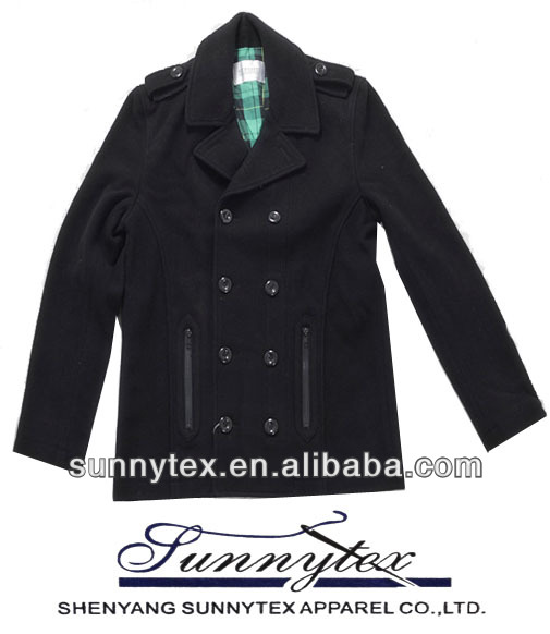 2015 sunnytex fashion branded apparel WOOL COAT