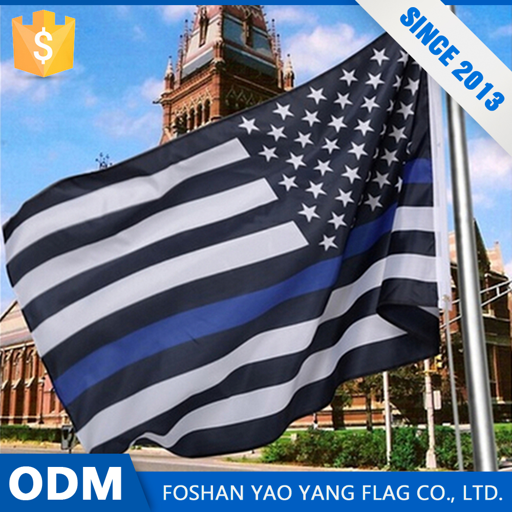 Black White American Flag Custom Cheap Thin Blue Line Flag