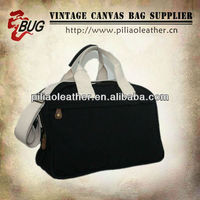 BUG hot sell vintage cheap plain black canvas sport and travel tote shoulder handbag bag wholesale in Guangzhou