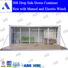 Electirc winch drop side down container home