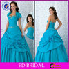 2015 New Fashion Style Ball Gown Strapless Sweetheart Ruffled Beaded Turquoise Wedding Dress