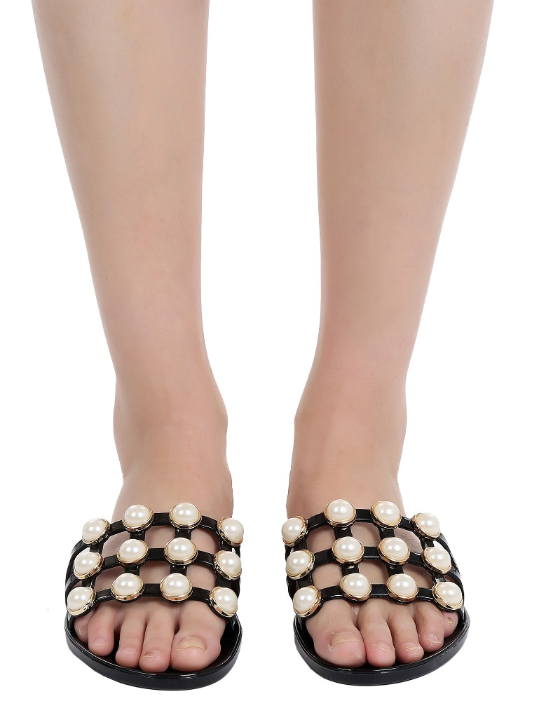 Faux Pearl Embellished Hollow Out Slide <strong>Sandals</strong>