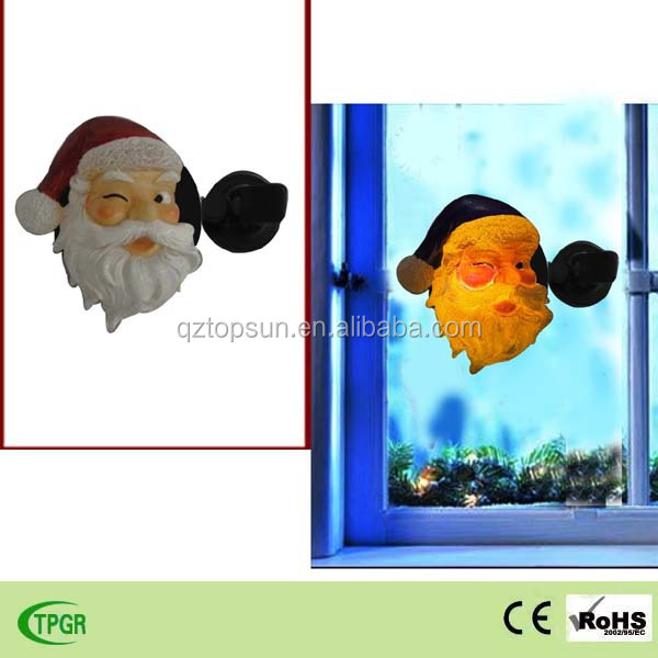 Polyresin Santa Claus window solar night light