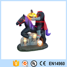 Halloween Inflatable Headless Horse with Pumpkin and Tombstone
