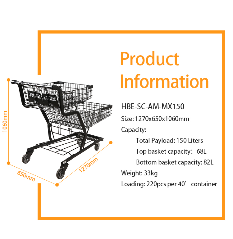 Customized Double Layer awesome  Basket Twin Child Seat Shopping Cart for supermarket
