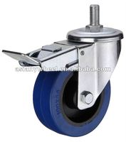 45 European type blue elastic rubber flat free caster wheel