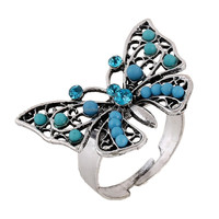 Children Women's Gender and Crystal Rhinestone Jewelry Main Material Butterfly Ring