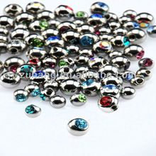 Tongue Barbell Jeweled Side Threaded Replaceable Balls for 1.2mm Pins Tongue Piercing Body Jewelry