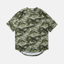 Man's high street loose fit drop ripped shoulder camouflage army t shirt cheap price round bottom bamboo cotton t shirt